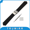 10mm x 23mm Silicone Rubber Watch Band Convex Interface Watchband Stainless Safety Clasp Strap Wrist Belt Bracelet + Spring Bar