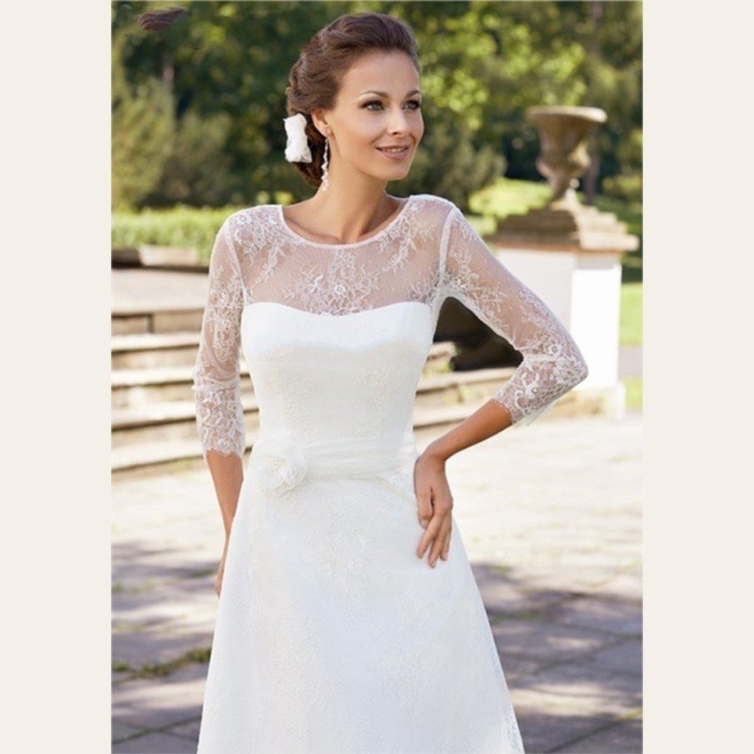 2015-Elegant-White-Lace-Wedding-Dresses-Knee-Length-3-4-Sleeve-Wedding-Gowns-Custom-Short-Bridal (2)