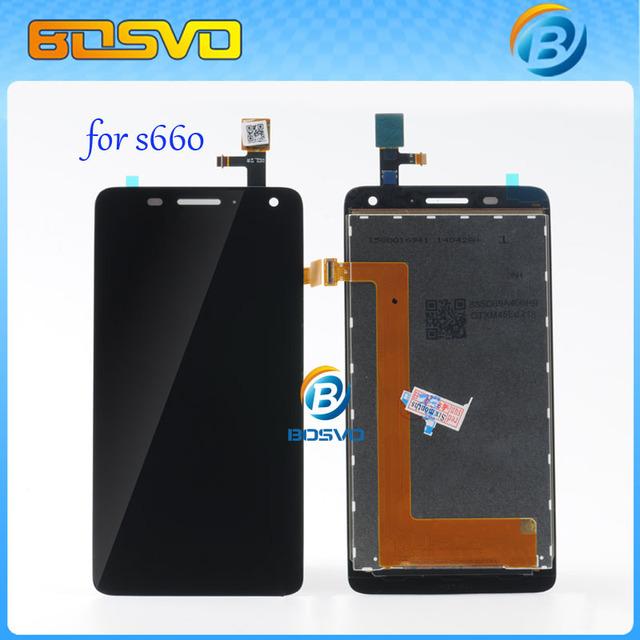 100% garantía de lcd de pantalla para lenovo s660 pantalla lcd con pantalla táctil digitalizador asamblea negro color 1 unids envío libre + herramienta