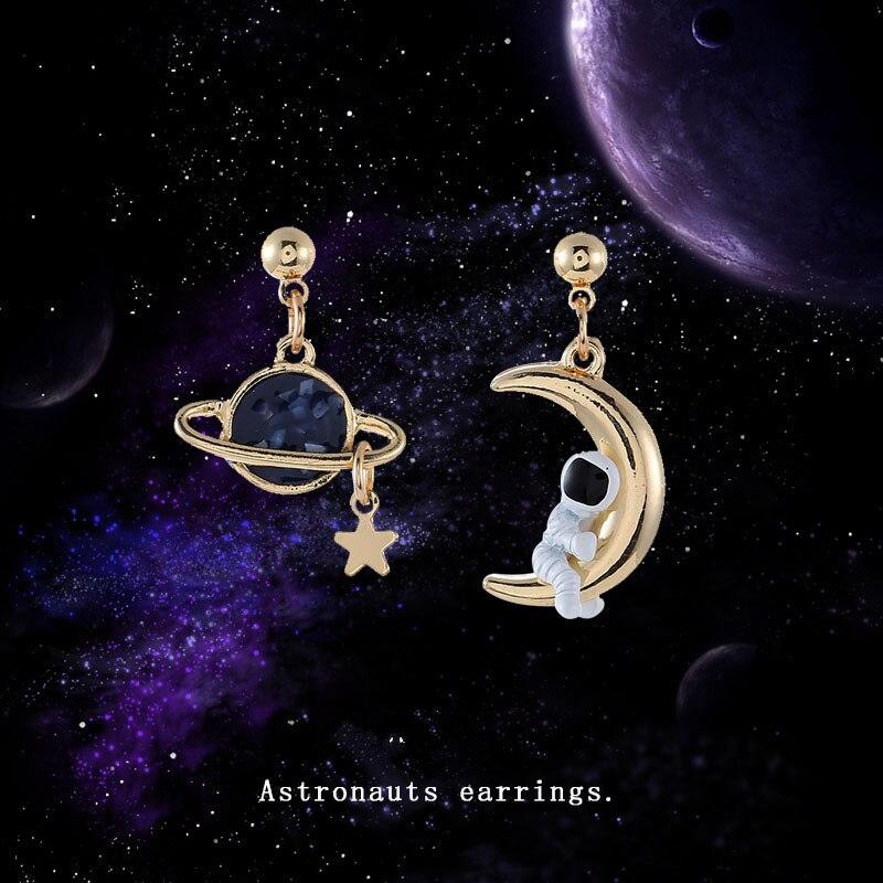 Fashion Moon Star Tassel Earrings Asymmetric Stud Earrings Woman Contracted Temperament Astronauts Earrings For Women Jewelry