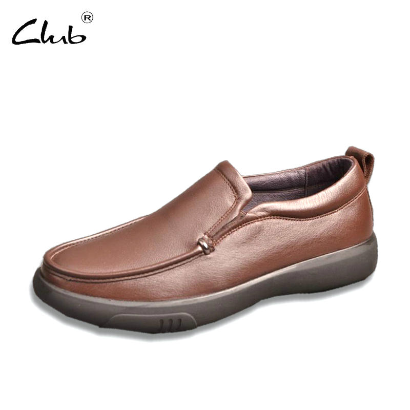 Club High Quality Genuine Leather Men Casual Shoes Brand Black Leather Formal Shoes Business Flats Shoes Slip On Men Loafers