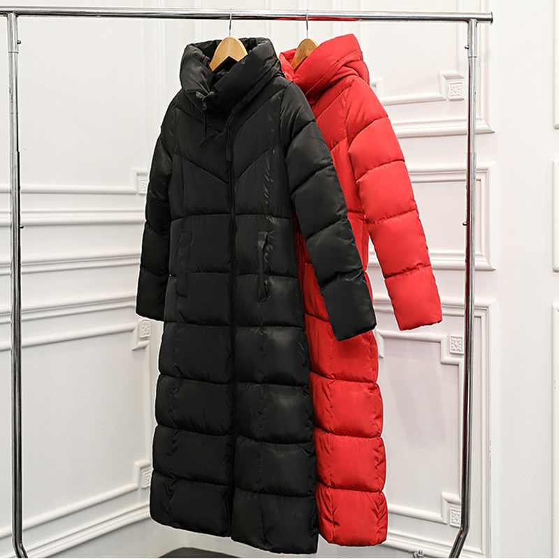 Women Autumn Winter Warm Jackets Black Red Color Ladies Slim Cotton-padded Overcoat   Parka   Fashion Long Style Female Hooded Coats
