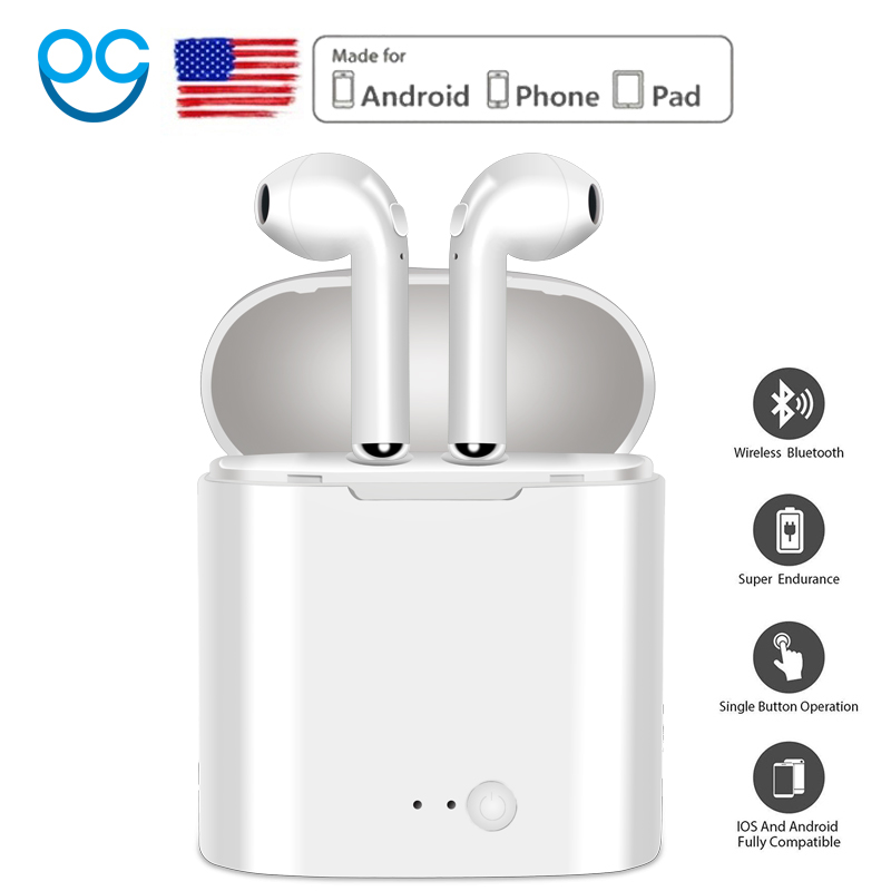 I7 Neue Mini Wireless Bluetooth Kopfhörer Mit Lade Box Stereo Echte Ohrhörer Headset Hörer für iphone Android air schoten