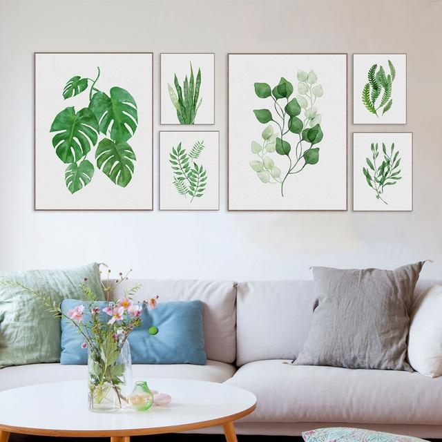 W07 acuarela fresca planta Tropical deja Impresión de arte cartel ...
