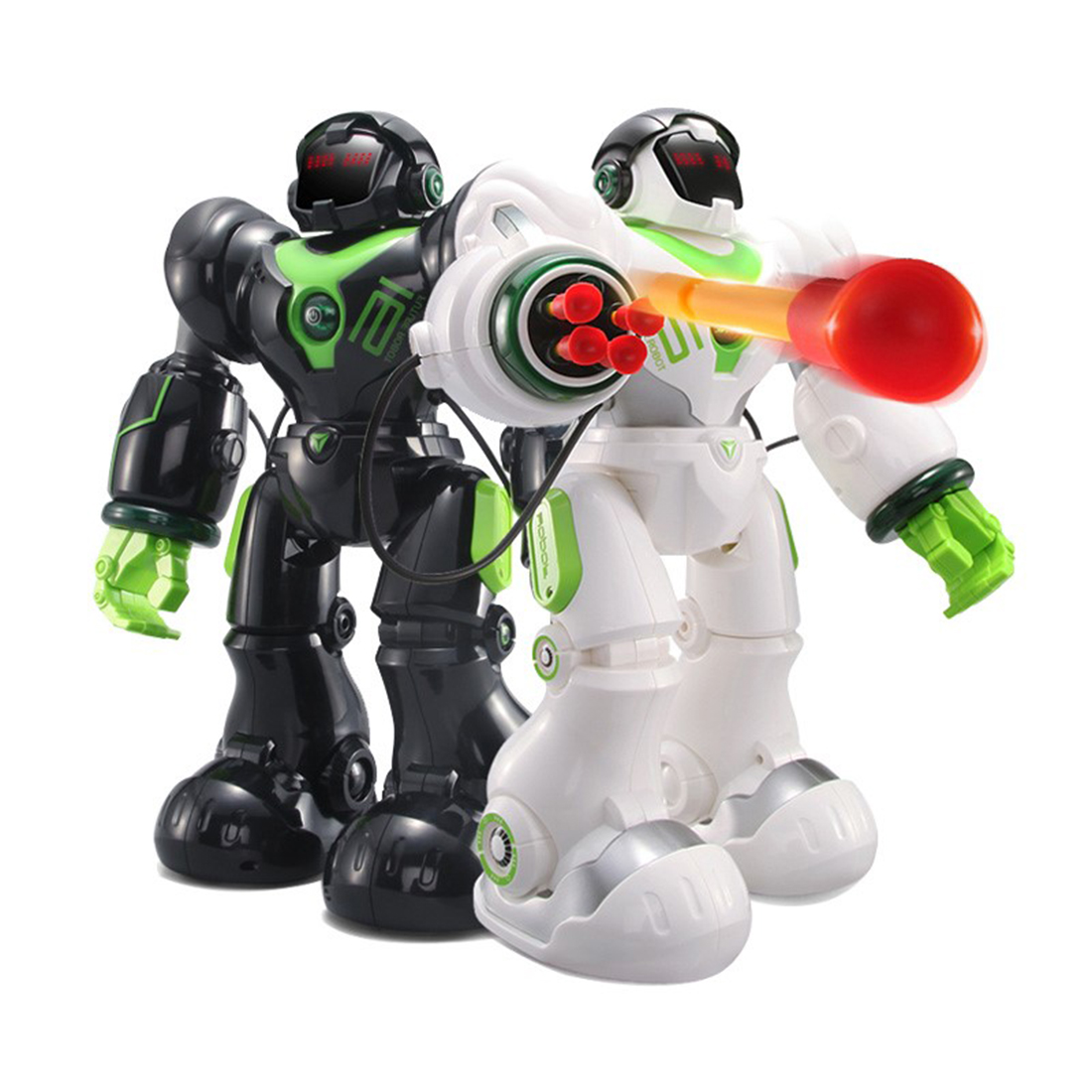 2019 New RC Machinery Robot Toys With Programming Shooting Dancing Battle Functions For Children - Black/White