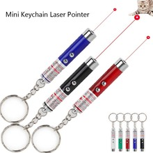 Cat Laser Toy 2 in1 Red Pointer Pen 5MW Mini Keychain Teaching Interactive With White LED Light