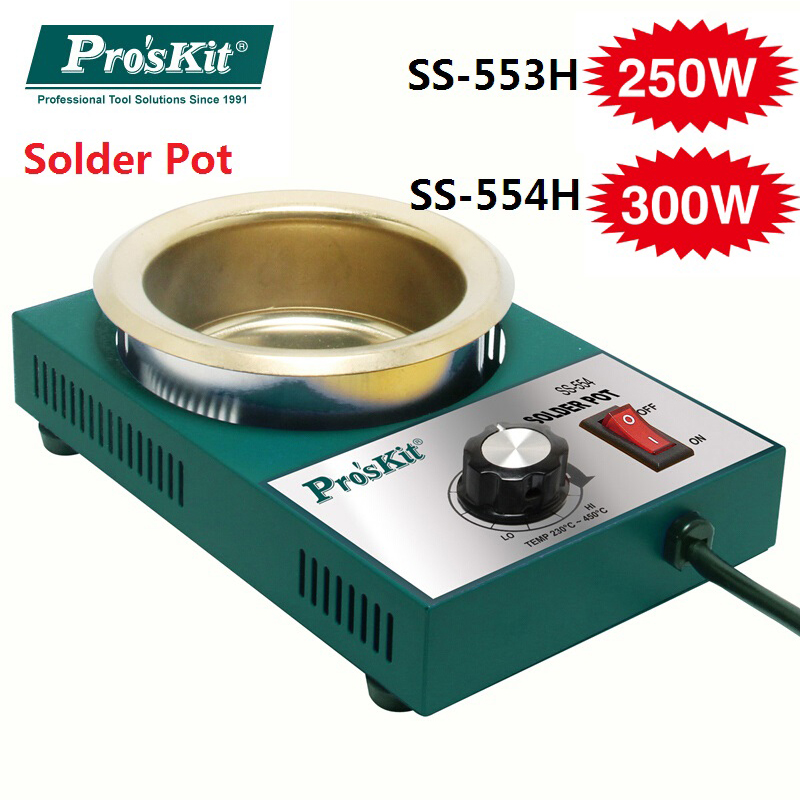 Pro'skit 250W 300W Lead Free Solder bar Pot Soldering Desoldering Tin Bath Pot welding solder melting furnace Wire Tinning pot ms 80 lead free digital soldering pot environment friendly solder pot