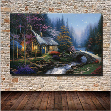Beautiful Printing Fairy Tale Cabin Oil Painting Wall Art Home Decoration Canvas Painting For Bedroom Living Room Unframed