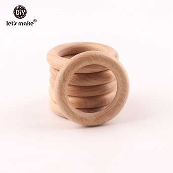 Let's make 50pcs Wholesale New Size Teething Beech Wooden Rings Food Grade 60mm Teethers Nursing Necklace Accessories Teether - DISCOUNT ITEM  9% OFF All Category