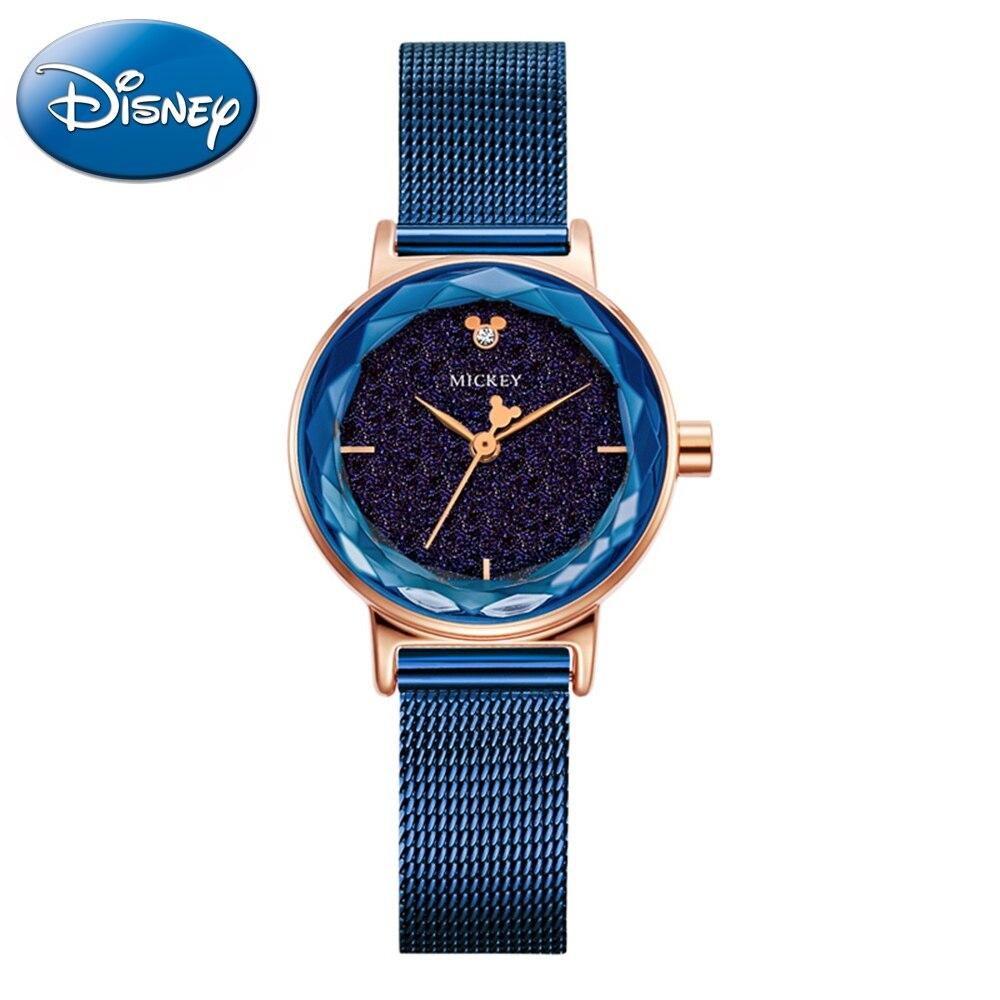 Mickey Mouse Women Luxury Crystal Starry Quartz Watch Waterproof Ladies Disney Brand Watches Original Quality Mesh