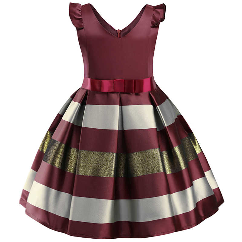 4b7c7c17fefdb25 Детские платья для девочек, платье принцессы в полоску с бантом, Розовая  Одежда для маленьких