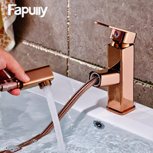 Pull Out Basin Mixer Tap 360 Degree Rotate Type Faucet Rose Gold Chrome Finish Bathroom Faucets Single Hand