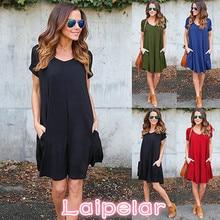 Fashion Summer Women ShortSleeve Dress Casual Sexy V-Neck Elegant Mini Dresses Clothes 2018 Laipelar