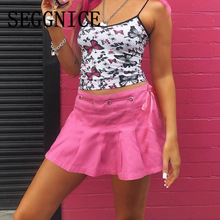 High Waist A-Line Women Pink Skirt Sailor Pleated Skirt Zipper Elastic Waist Sweet Girls Dance Sexy Mini Skirt For Ladies 2019