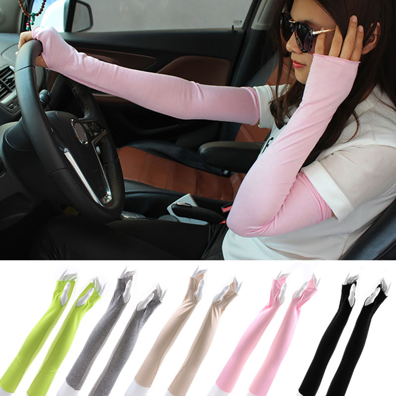 Women Cotton Long Arm Fingerless UV Sun Protection Golf Driving Cover Gloves Mittens   Arm Warmers