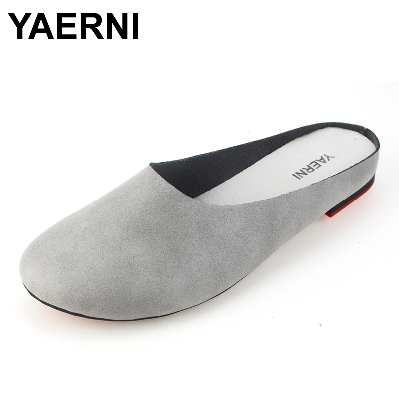 YAERNI Summer Slides Women Genuine Leather Flat Shoes Soft Outsole Casual Handmade Flower Women Sandals Moccasins female 2310 придверный коврик php classic волна 40 х 68 см