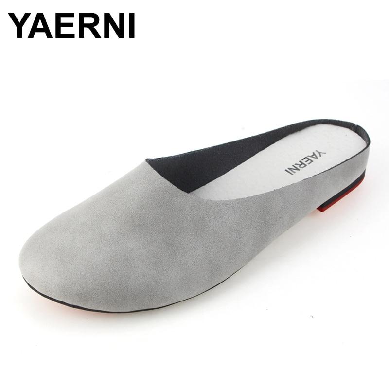 YAERNI Summer Slides Women Genuine Leather Flat Shoes Soft Outsole Casual Handmade Flower Women Sandals Moccasins female 2310
