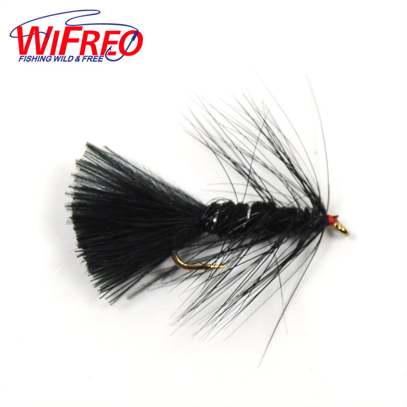 Wifreo 10PCS #10 Long Shank Black Wooly Bugger Streamer Fly Trout Fishing yum 2 wooly curltail