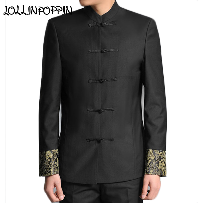 14acc4da7f Traditional Chinese Men Tunic Suit Jacket Frog Closure Dragon Embroidery At  Cuffs Stand Collar Mens Black