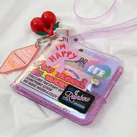 Bentoy Glitter Transparent Purse Fashion ID Card Holder Wallets Photo Folder Mini Laser Purse Women Clutch Wallet Hanging Neck