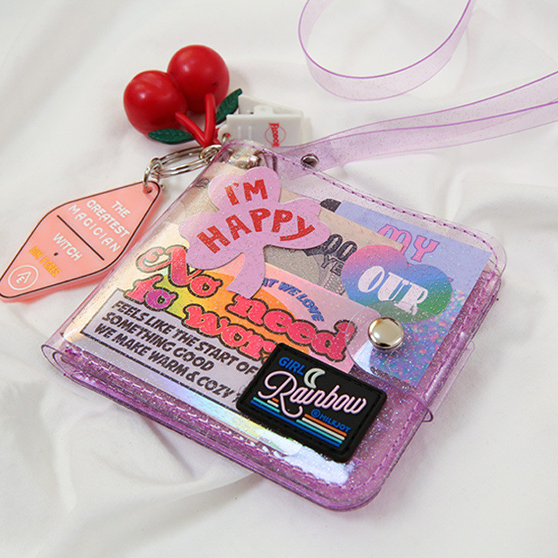 Bentoy glitter transparente bolsa moda id titular do cartão carteiras foto pasta mini bolsa a laser carteira de embreagem feminina pendurado no pescoço