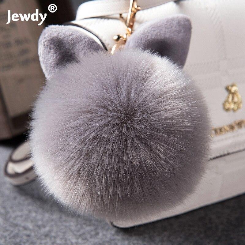 2017 Fur Pom Pom Keychain Fake Rabbit fur ball key chain porte clef pompom de fourrure pompon Bag Charms bunny keychain Keyring