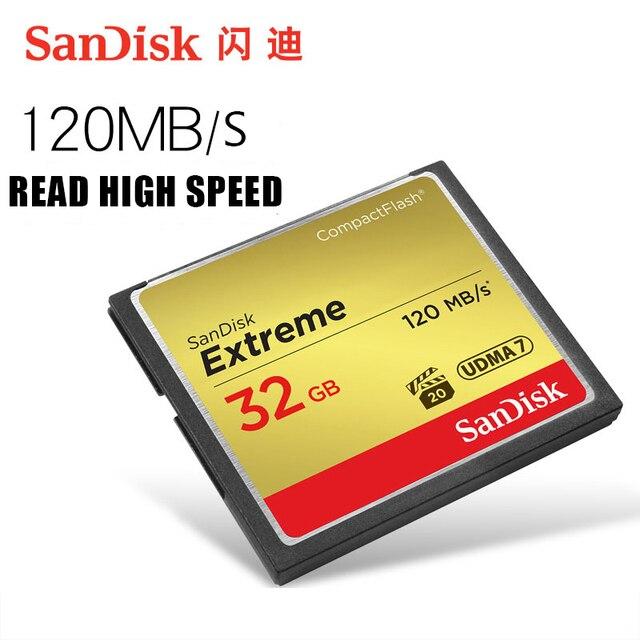 Sandisk cf cartão de memória compacto extremo 32 gb 64 gb 128 gb até 120 mb/s velocidade de leitura 4 k e vídeo hd completo