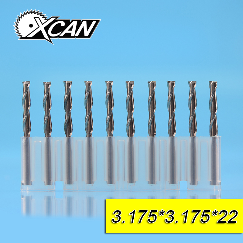 XCAN 3.175mm 2flute spiral end mills 8/12/15/17/20/22mm cutting length CNC end milling cutter for cut wood/plastic router bits 1pc 1 8 helical milling cutter cutting 3 flute router bits for acrylic wood plastic milling cutting tools