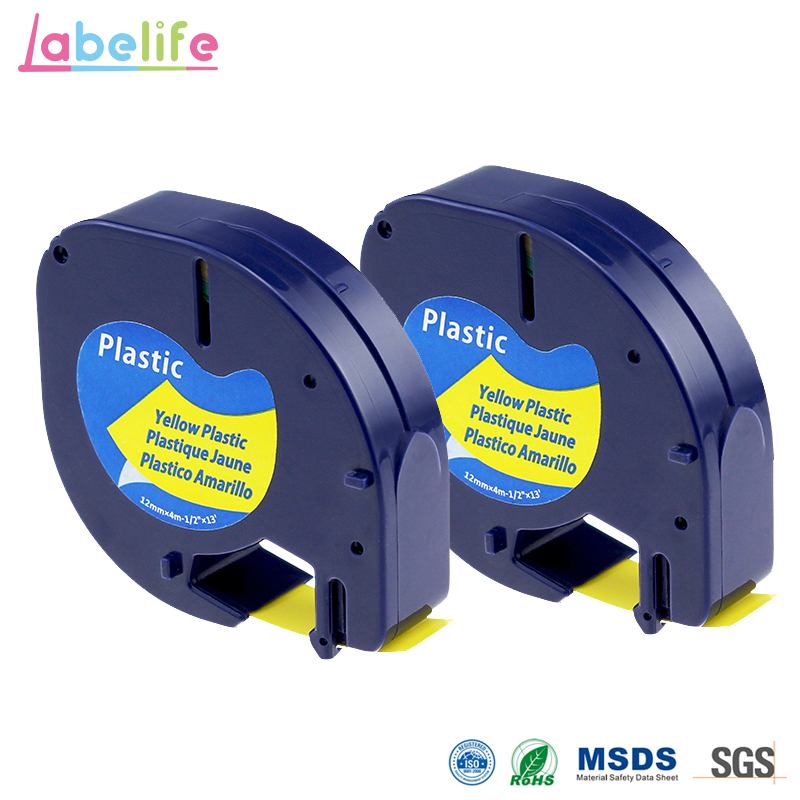 3 Pack 1//2/'/' Black on Yellow Plastic Label Tape for Dymo Letra Tag LT 91332 QX50