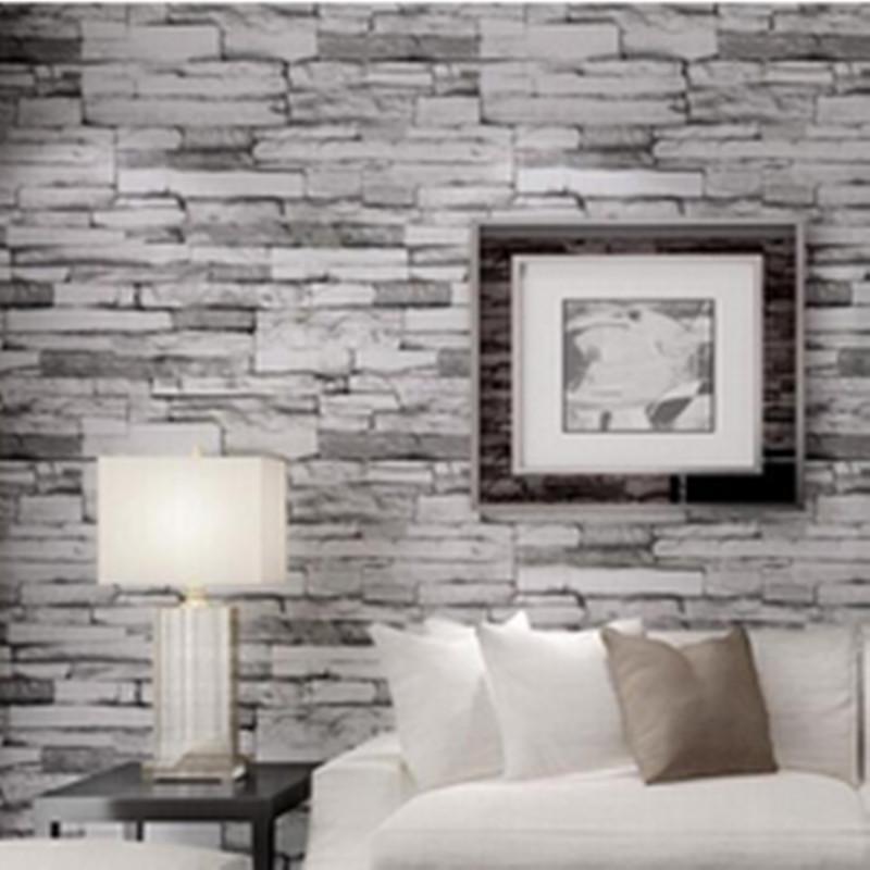 papel pintado del pvc d piedra brickdesign efecto m bloques de madera marrn rollo