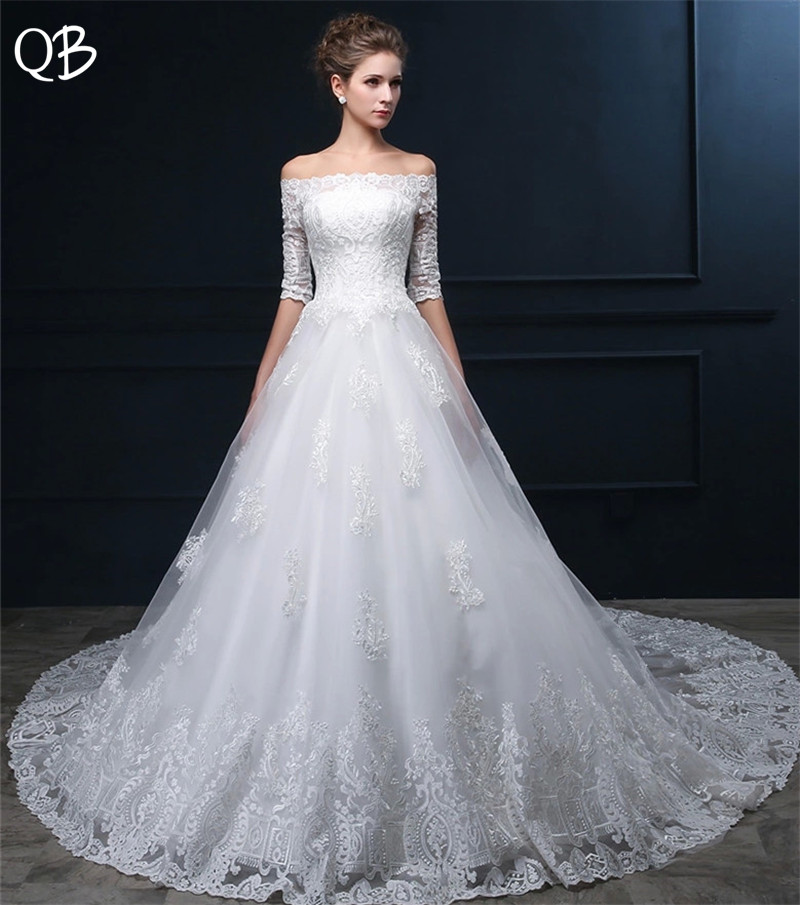 Custom Size Ball Gown Half Sleeve Big Train Tulle LaceWedding Dresses Long Formal Elegant 2019 New Wedding Gowns DW44