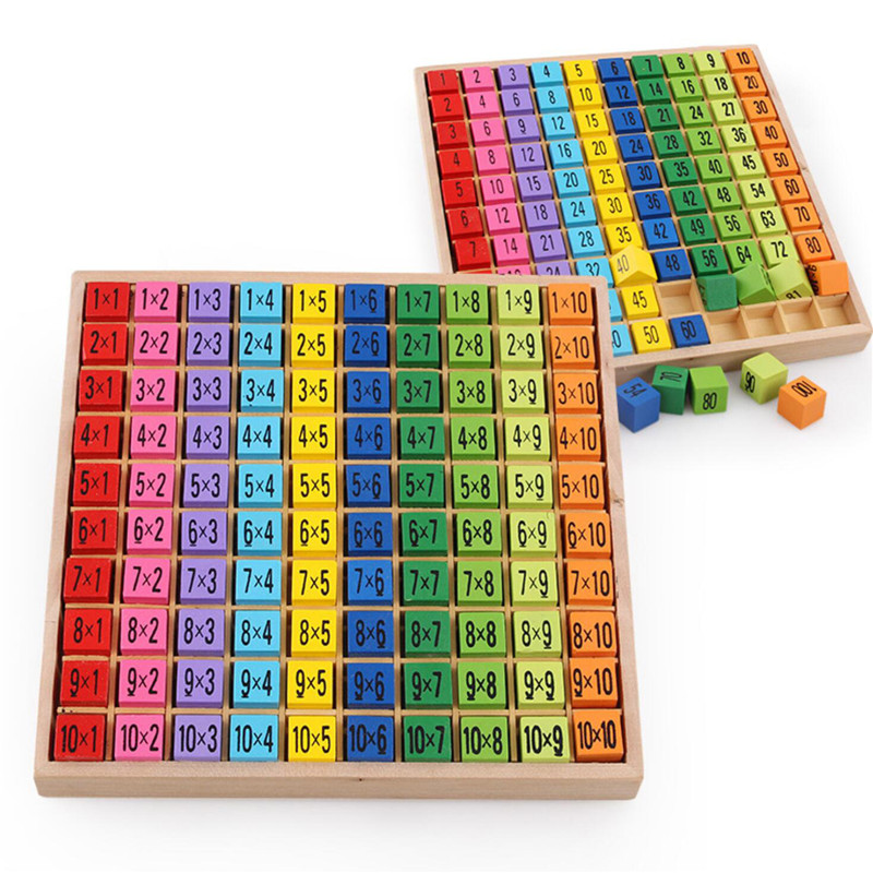 Montessori Educational Wooden Toys for Children Baby Toys 99 Multiplication Table Math Arithmetic Teaching Aids for Kids