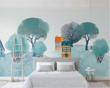 Beibehang Custom Wallpaper Murals Large Wall Painting Blue small house woods papel de parede 3D For 3d wallpaper