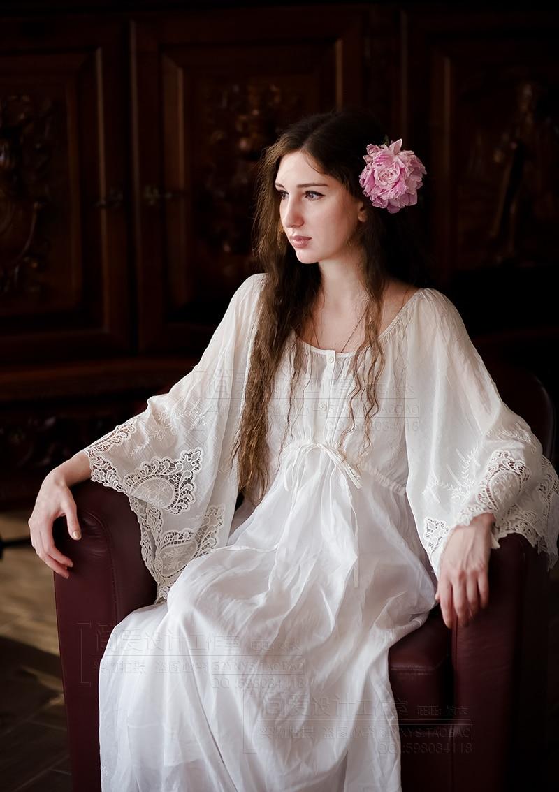 Линетт's CHINOISERIE пижамы белый шелк хлопок кружево вышитые расширение нижней Винтаж Вечернее платье