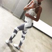 Rylanguage Color Block White Black Leggings Women Fashion Trend 2019 Fitness Joggers Leggings High Waisted Ladies Legging Sport