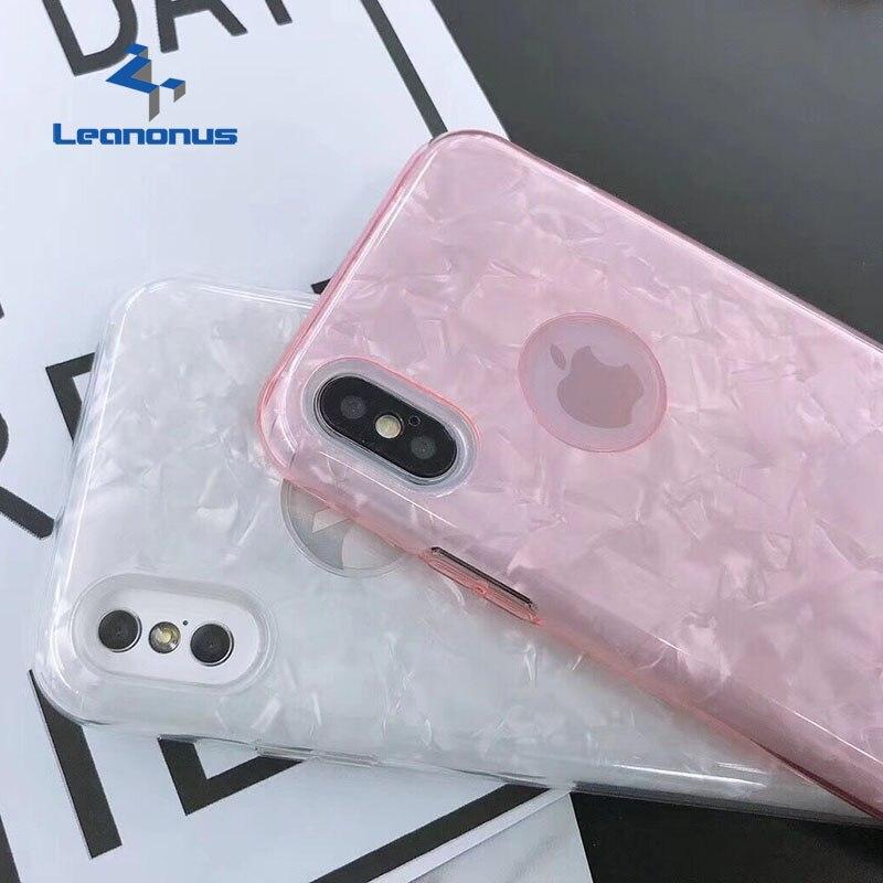 Leanonus Glossy Glitter Phone Case For iPhone 7 8 7 8 Plus Fashion Hybrid PC Plastic+Glitter Paper+Silicon Shell Bling Fundas