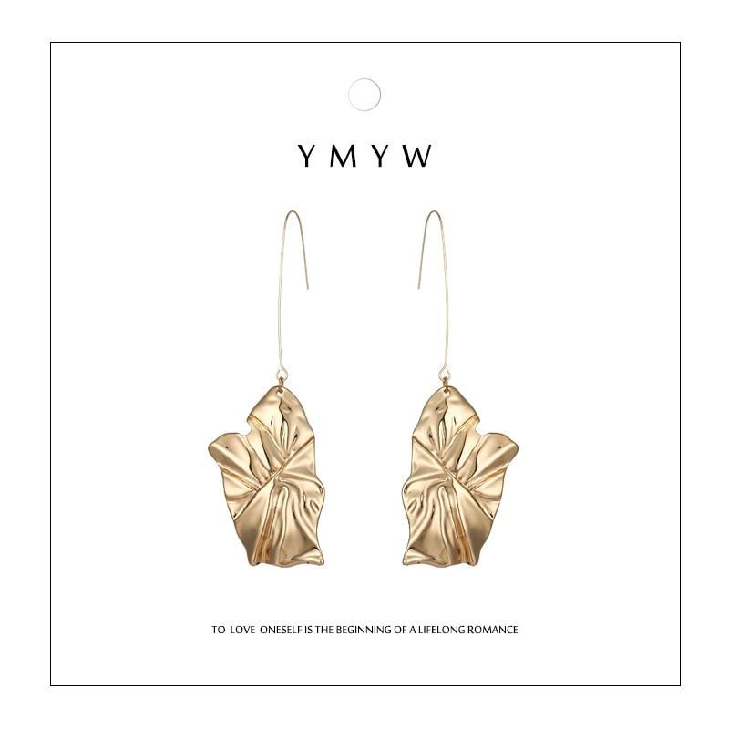 2019 Mode Ymyw Gepersonaliseerde Zinklegering Leaf Drop Oorbellen Gold Bladeren Unieke Geometrische Chunky Voor Vrouwelijke T-tonen Brincos Bijoux Sieraden