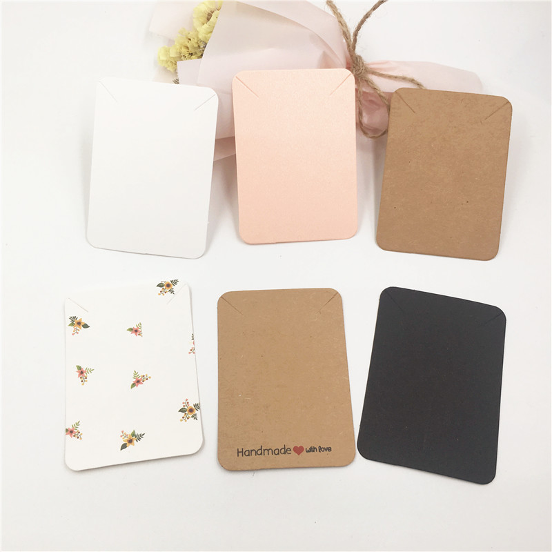 30Pcs/Lot Flowers Printed And Blank Kraft Paper Cardboard Colorful Popular Necklace Jewelry Displays Packaging Cards Customized