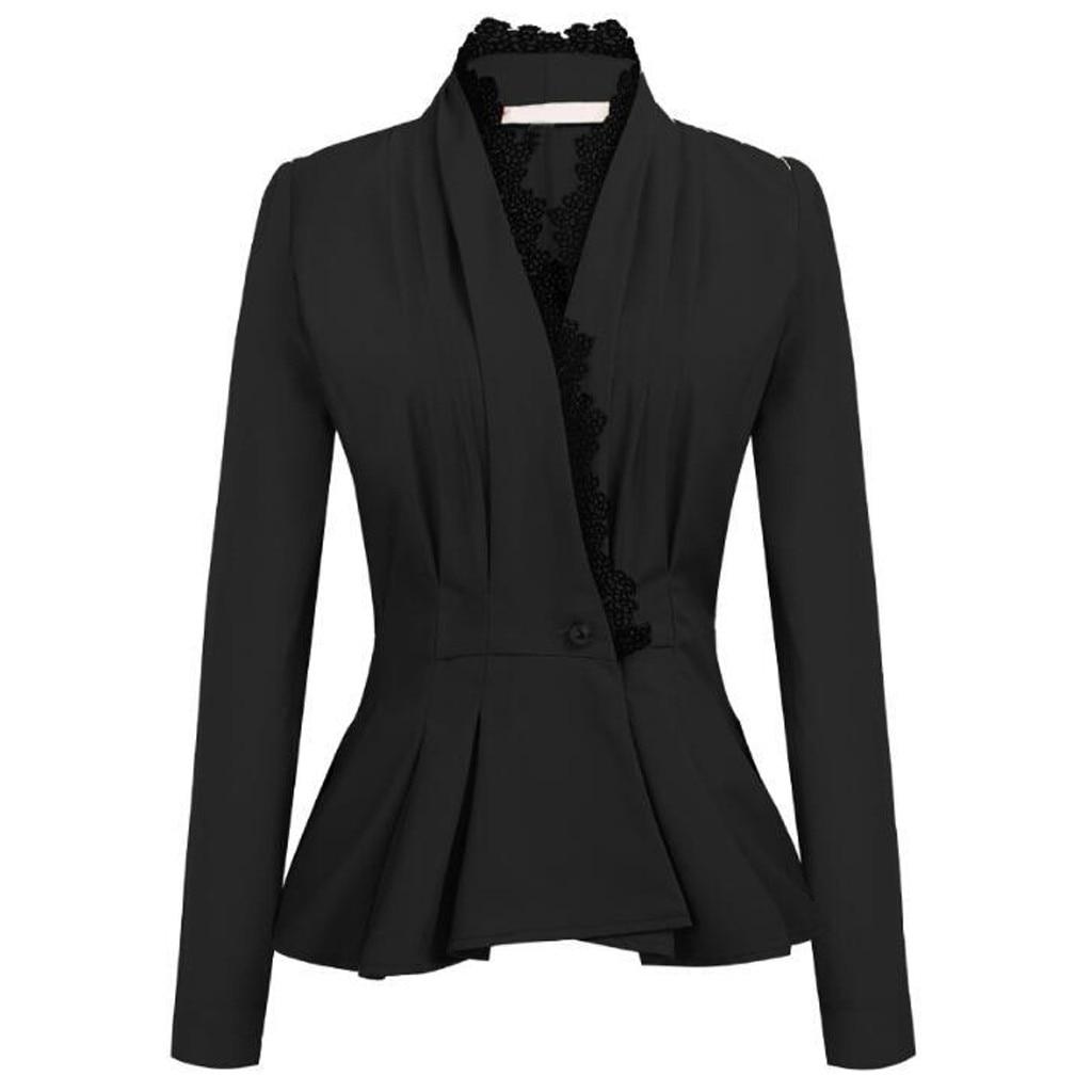 Fashion Women Long Sleeve OL Style Lace Patchwork Blazer Elegant Slim Suit   trench   coat moda feminina casaco feminino moda mujer
