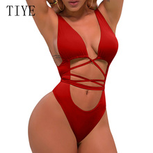 TIYE Rompers Women Summer Beach Bikini Bodysuits Sexy Deep V Neck Hollow Out Cross Bandage Bodycon Playsuits Female Overalls