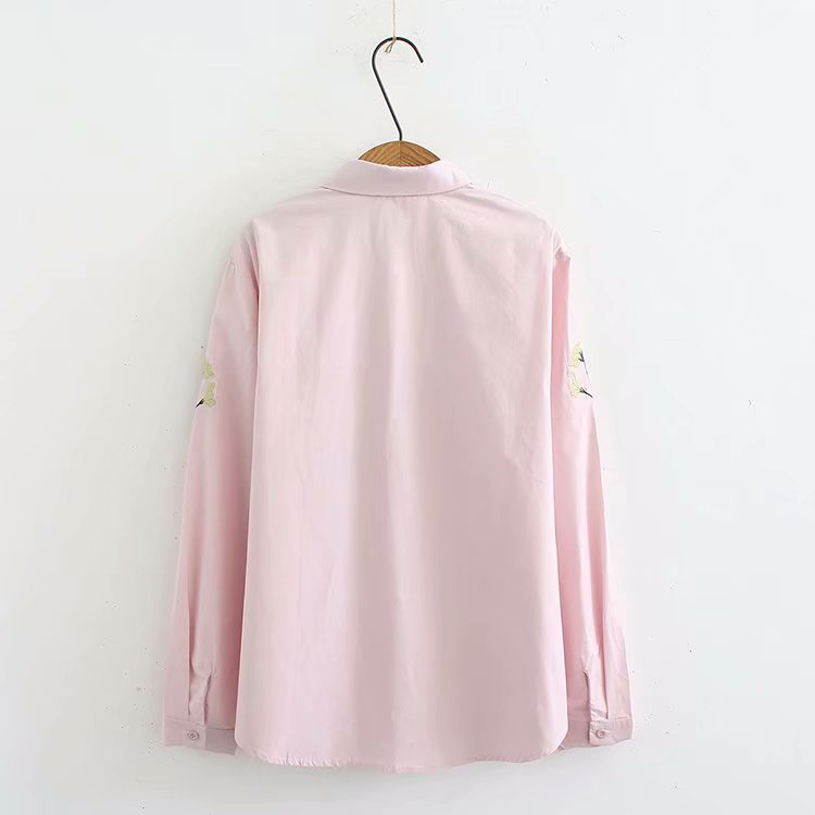 white Blouse pink Casual Cotton Sleeves Floral 2018 Ladies Shirt Embroidered Size Women Long Spring Plus Autumn Oversized Tops Black tRqUwHt