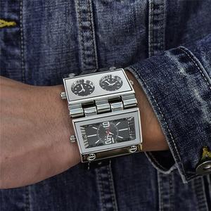 Image 2 - Oulm montre bracelet de Sport pour hommes, trois zones horaires 2 cadrans, grand cadran à Quartz, montre de style militaire, décontracté