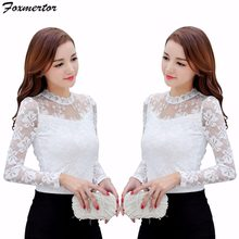 Chemise Femme Hot New Lace Blouse 2018 Women Blouses Shirt Black White Lace Crochet Blouse Long Sleeve Shirts Ladies Tops S-5XL(China)