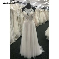 Vintage Halter neck beach Wedding Dress Bohemian Bridal Gowns vestido de noiva Plus Size