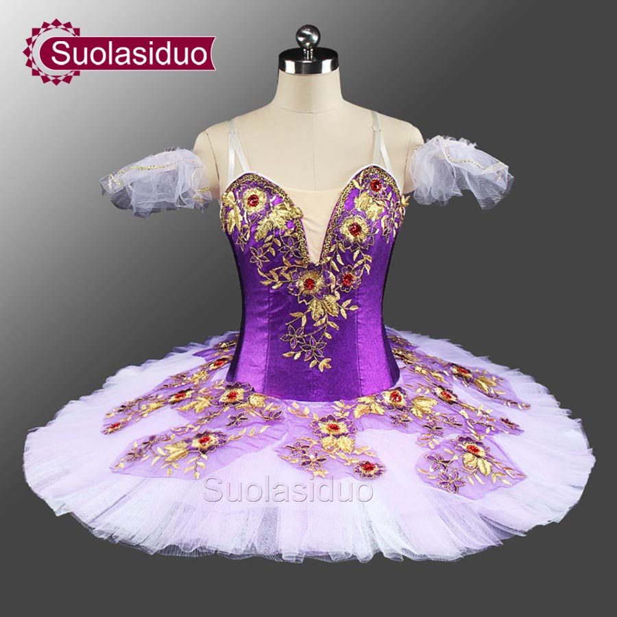 New Purple Classical Costume Tutu Ballet  Dance Professional Stage Costumes Platter Competition SD0046