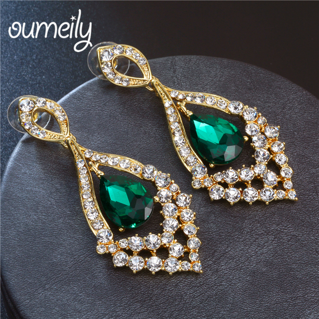 OUMNEILY Indian Bride Earrings Blue Red Green Color Rhinestone Crystal Drop  Earring For Wedding Dress Fashion 44fad24a7d04