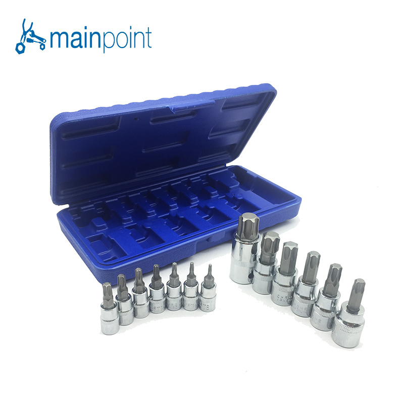 Mainpoint Hot Sale 13pc Torx Star Bit Socket Nuts Set 1/4 3/8 and 1/2 Drive T8 - T70 mainpoint 1 4 1 2 3 8 e socket sockets set cr v torx star bit combination drive socket nuts set for auto car repair hand tool