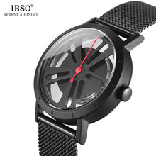 IBSO Brand Novelty Creative Wheel Design Rotate Sport Quartz Watch Men Locomotive Punk Style Mens Watches 2019 Relogio Masculino