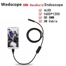 8MM 3M Android Endoscope Handheld 720P Borescope Video Inspection 2.0 Mega Pixels Camera Soft Tube USB Endoscope