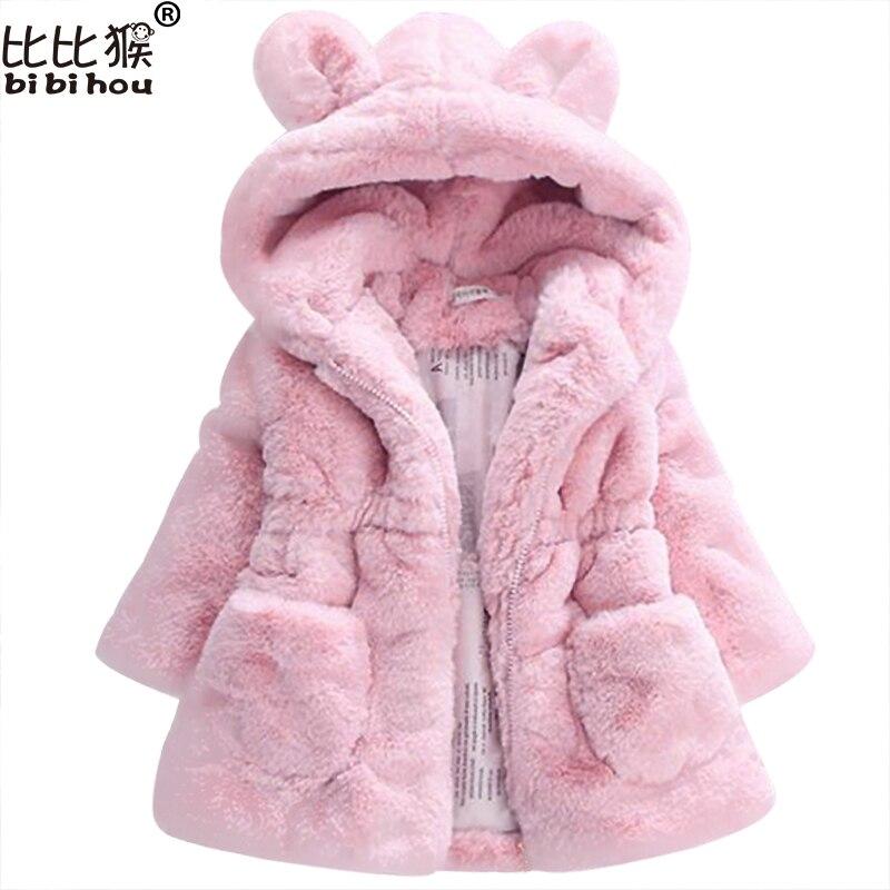 2017 Winter Warme Baby Mädchen Taille Oberbekleidung Kinder Faux Pelz Kaninchen Ohren Mantel Kinder Jacke Weihnachten Schneeanzug Oberbekleidung Kind